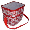 "Insulated Delivery Bag – 11"" x 10"" x 8"" - Red Patterned_D1164600_1"