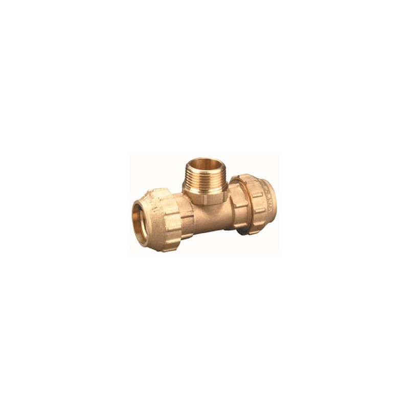"Compression Fitting – Tee – Male – Brass – 50 mm x 1 1/2"" x 50 mm"