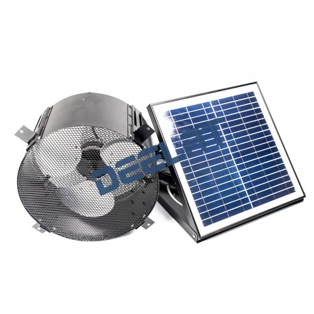 "Solar Powered Exhaust Fan and Ventilator - 15W - Adjustable - 14"" - Wall Mounted - With Adapter_D1155742_main"
